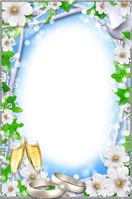 Wedding Frame for Photoshop - With white flowers