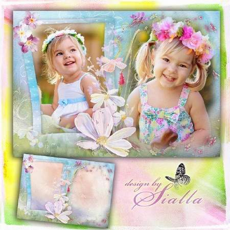 Children frame download - Photo frame psd + png with flowers