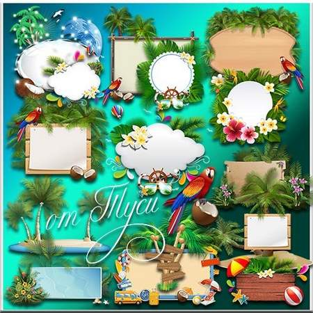 Clipart frames psd download - summer frames free psd