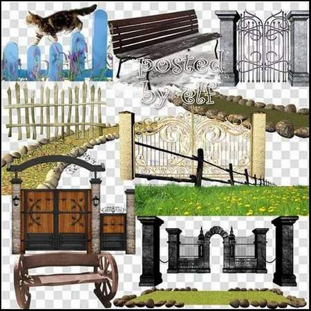 Garden clipart download - 114 free png images - Lawns, garden paths, fence, railings, benches