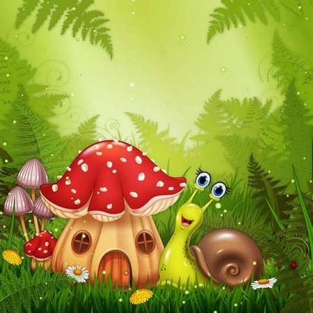 Free psd source download - Snail on a green meadow