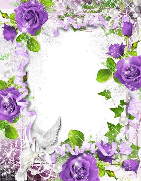 Wedding Photo Frame with purple roses