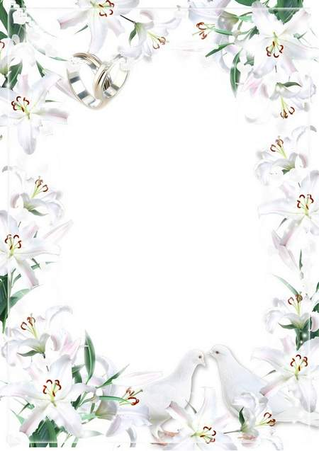 Wedding photo frame - In the white lilies