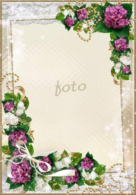 Flower frame with gold lace and beads - Amid all the beautiful flowers you do not have