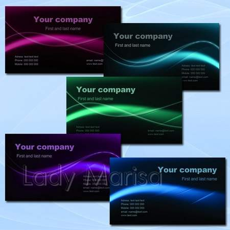 Business card download - free psd templates in dark colors - Neon lines