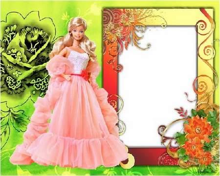 """Photoframes for girls """"Barbie"""" ( free 6 PSD frames + free 6 PNG frames ) download"""