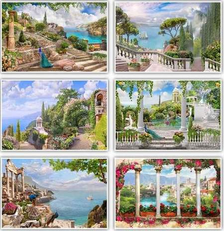 Seascape backgrounds download - 24 jpg, 2500 x 1600 px