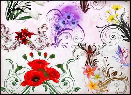 Decorative Clip Art psd download - floral curls