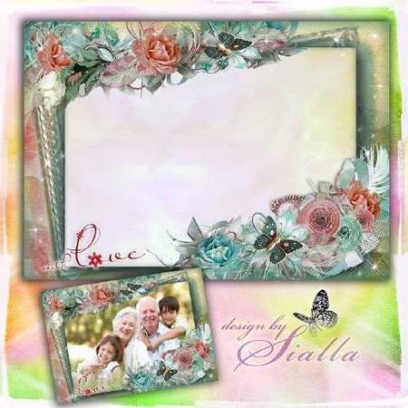 Family frame download - Family idyll vintage frame template (free frame psd + free frame png)