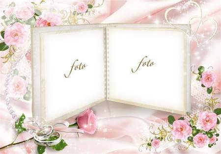 Wedding frame with delicate pink roses - Disclosure of Wedding Photo Album