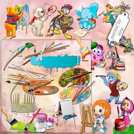 Paint Clipart download - 178 free png images (brushes, palettes, easels, cartoon painters)