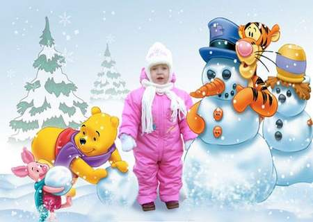 Kid template for Photoshop - Winter with Winnie the Pooh