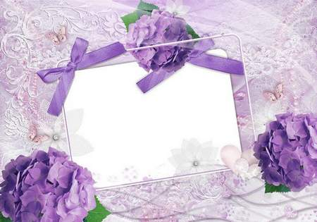 Wedding frame with lace - Mauve romance