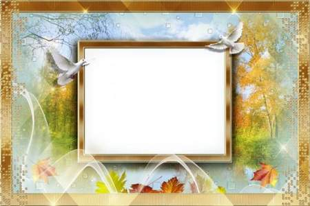 Free psd Photo frame collage with autumn leaves - Coloured autumn