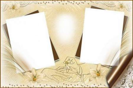 Wedding frames for photoshop with footage of the film, wedding rings and white pigeons