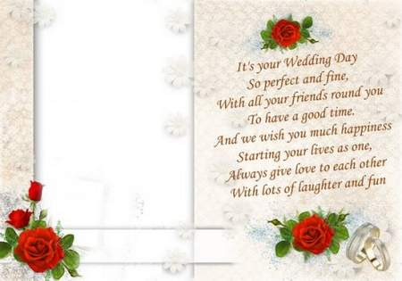 Wedding frame with red roses and greeting