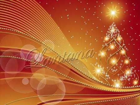 Winter PSD source for photoshop - Golden Christmas tree