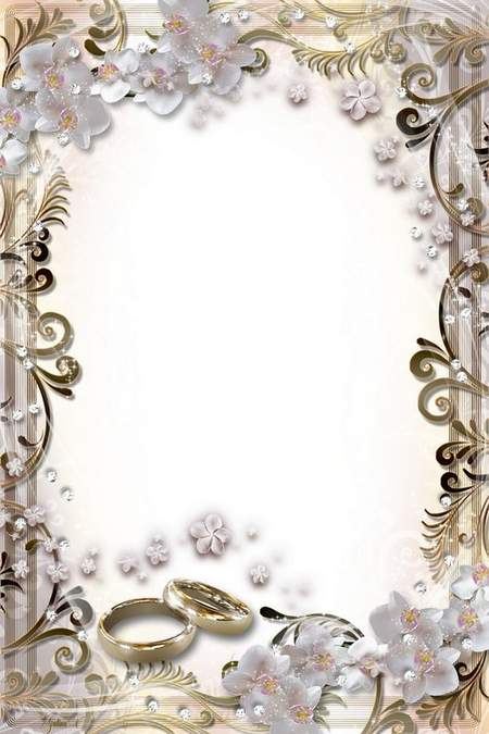 Luxury Wedding Frame - Shiny Brilliants and Orchids