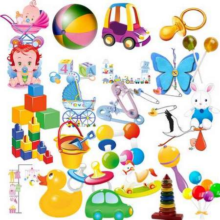 Baby Toys Clipart download - Baby items and toys free psd file