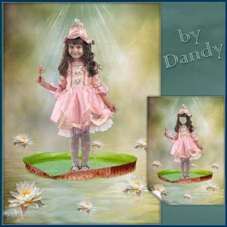Photoshop Template for a girl - Thumbelina on lily (free psd)
