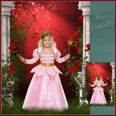Photoshop template for girls - Little fairy amongst the roses (free psd)