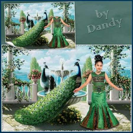 Free Photoshop template download - girl on the terrace with the peacocks