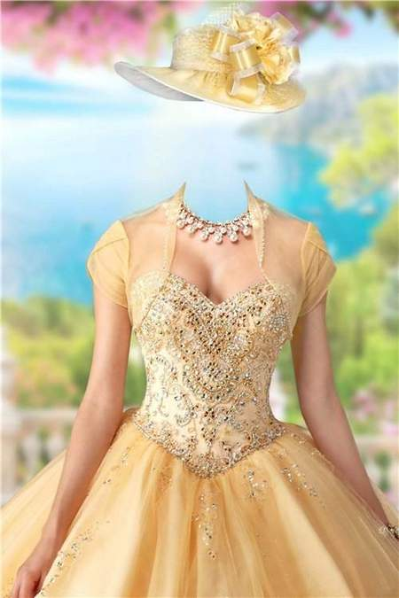 Lady in gold dress - free psd template for Photoshop