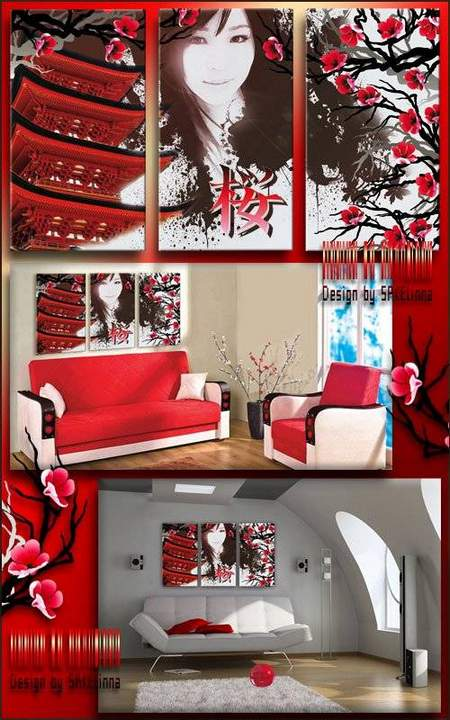 Free Modular painting psd download - triptych Japan