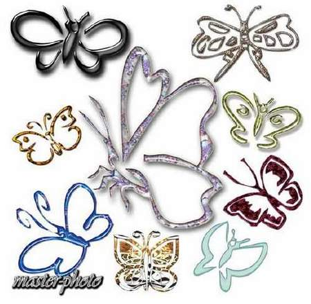 Decorative butterflies download - free clipart psd