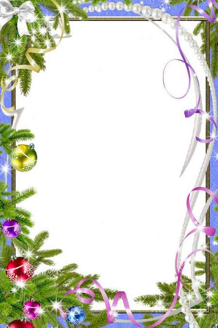 Frame for Photoshop download - Christmas with pearls