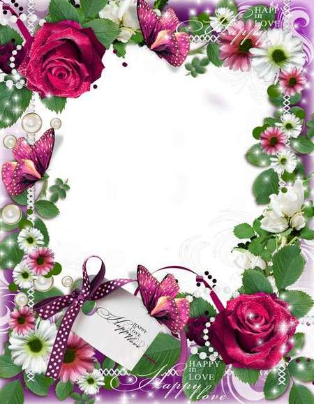Delicate romantic frame with doves - Love paradise