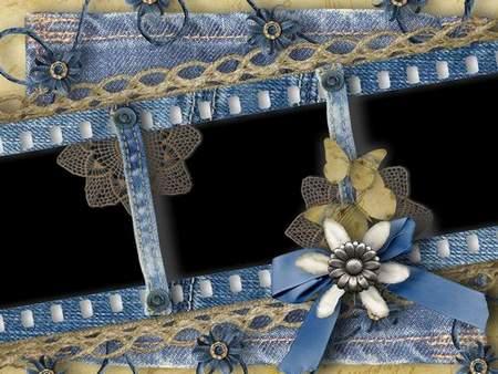 Frame for three photos - Denim Flowers