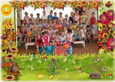 Kindergarten photo frame - Autumn frame psd for Group photo