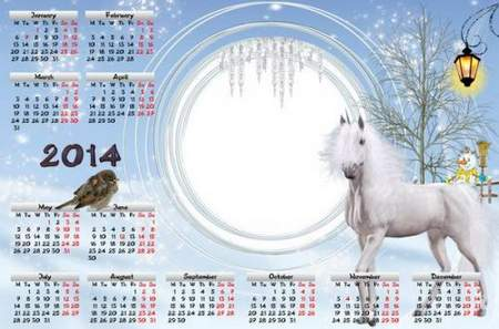 Winter calendar for 2014 - Horse and sparrow