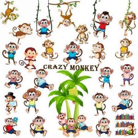 Funny monkey clipart psd
