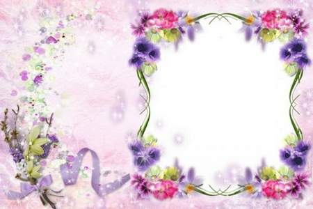 Frame for Women with Corners from Flowers - I Congratulate with  Birthday to You