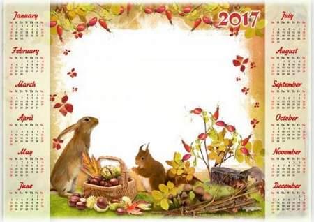 2017 Autumn Calendar-frame psd