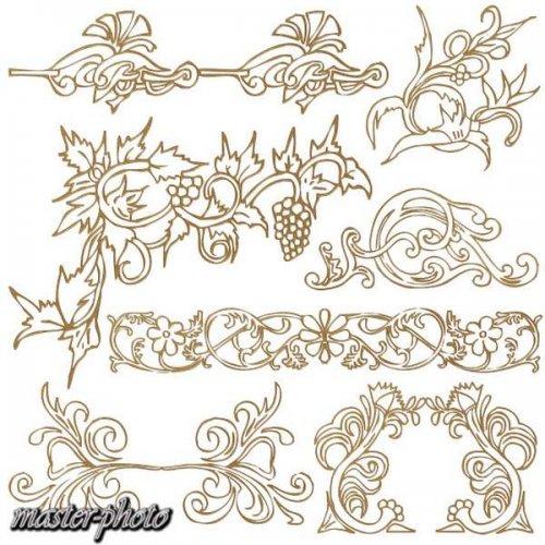 Golden decorative elements psd