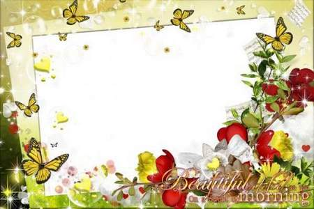 Romantic Photo Frame with flowers - Beautiful morning
