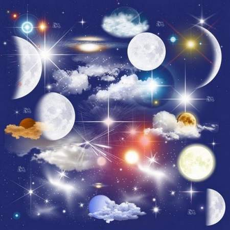 Moon, stars, clouds psd