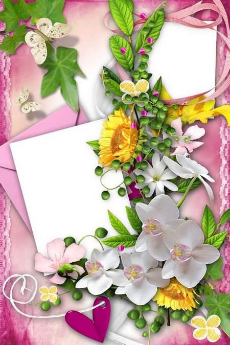 Flower Frame for Photoshop - 2 photo frame psd