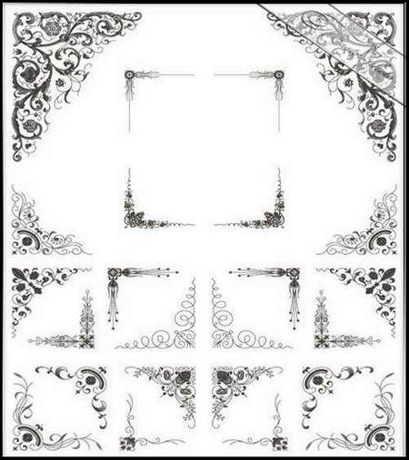 Free Decorative Clipart psd download - Decorative corners №5