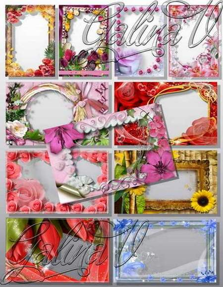 Floral frame for photo download - 11 frames png