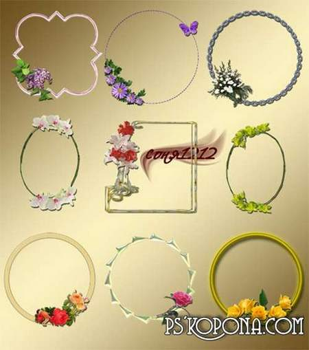 Flower Frames png download - free 9 frames png