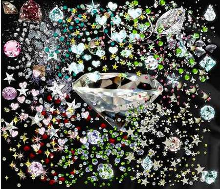 Precious stones, diamonds (transparent background) - free psd download