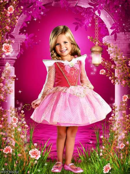 Child's template - Little  princess in the country of wonderful roses