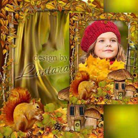 Children frame free download - Autumn forest each year paying gold for input