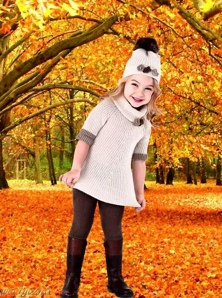 Free Child's psd template is Girl and gold autumn