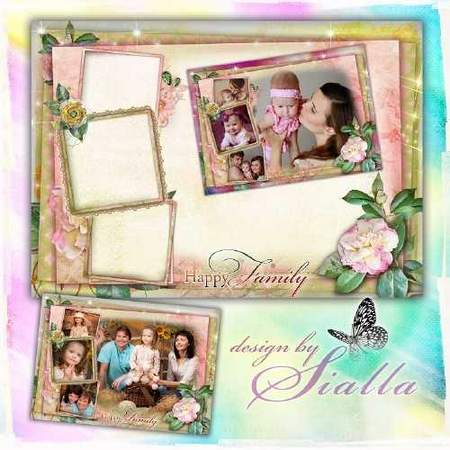 Family photo frame for 4 photos – the Family hearth (free frame psd + free 4 frame png)