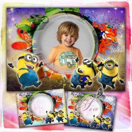 Kids photoshop frame – Minions the best (free frame psd + free 3 frame png)
